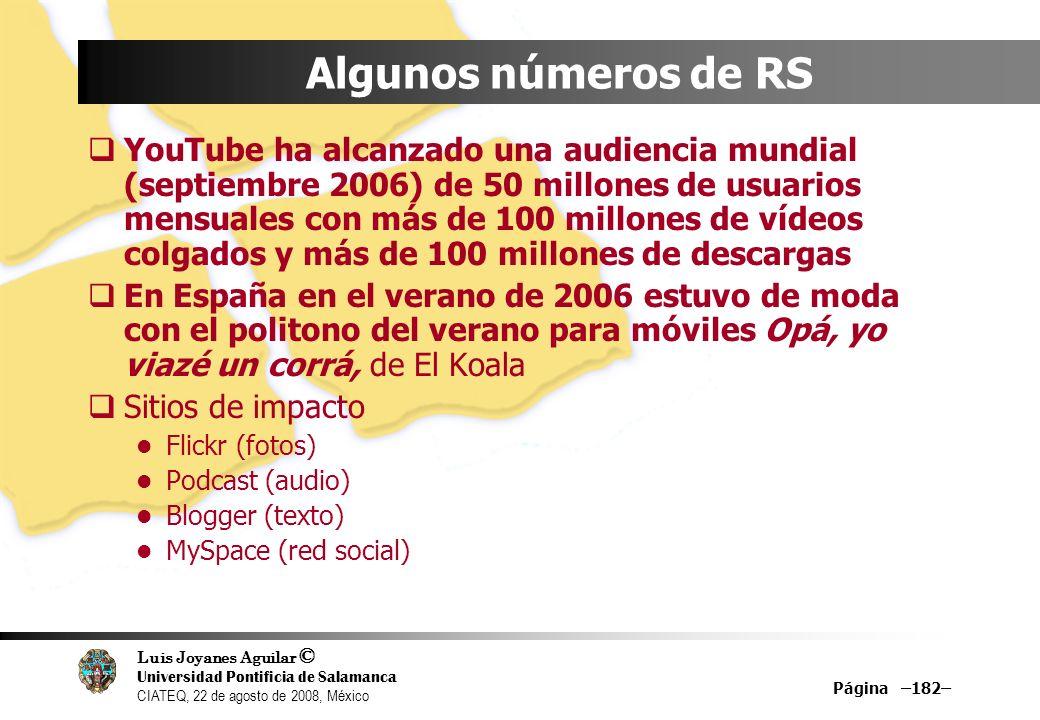 Luis Joyanes Aguilar © Universidad Pontificia de Salamanca CIATEQ, 22 de agosto de 2008, México Página –182– Algunos números de RS YouTube ha alcanzad