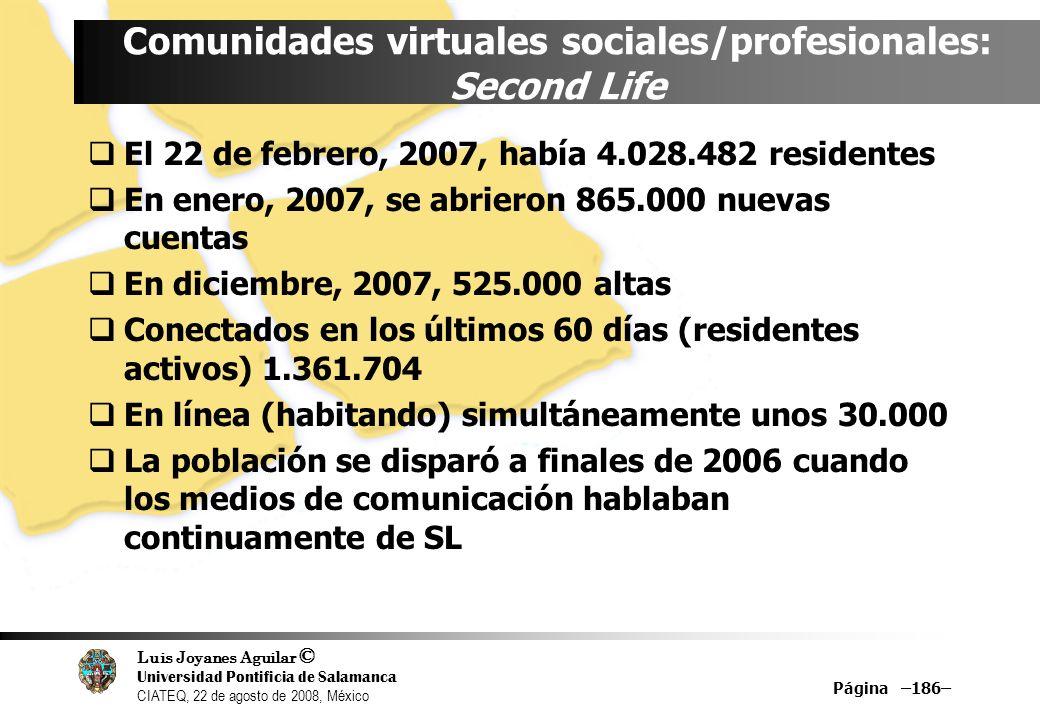 Luis Joyanes Aguilar © Universidad Pontificia de Salamanca CIATEQ, 22 de agosto de 2008, México Página –186– Comunidades virtuales sociales/profesiona