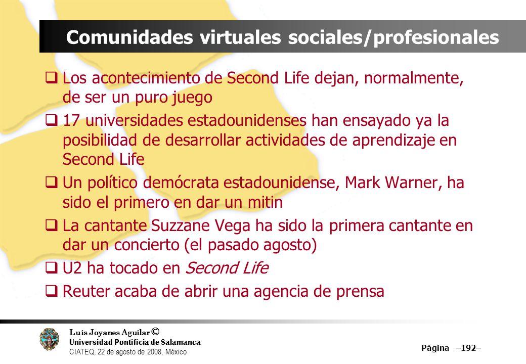Luis Joyanes Aguilar © Universidad Pontificia de Salamanca CIATEQ, 22 de agosto de 2008, México Página –192– Comunidades virtuales sociales/profesiona