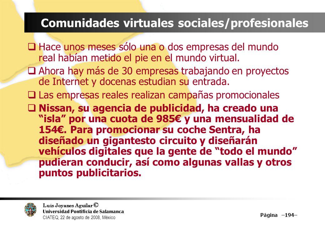 Luis Joyanes Aguilar © Universidad Pontificia de Salamanca CIATEQ, 22 de agosto de 2008, México Página –194– Comunidades virtuales sociales/profesiona