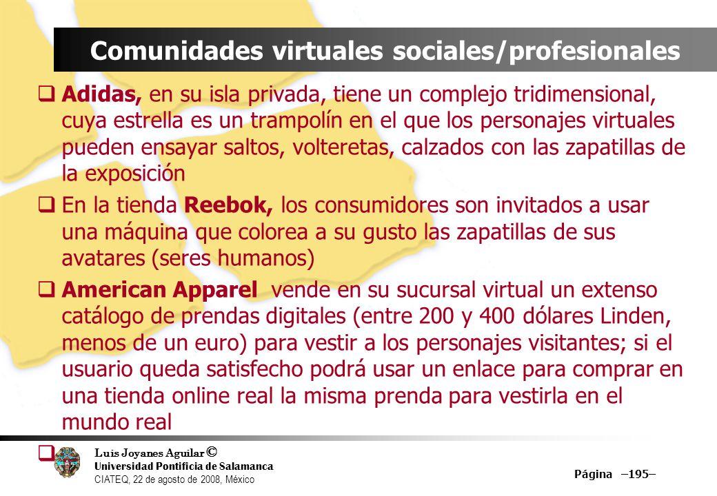 Luis Joyanes Aguilar © Universidad Pontificia de Salamanca CIATEQ, 22 de agosto de 2008, México Página –195– Comunidades virtuales sociales/profesiona