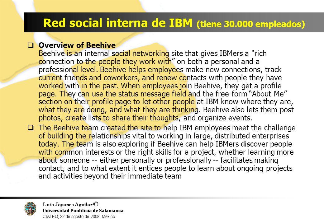 Luis Joyanes Aguilar © Universidad Pontificia de Salamanca CIATEQ, 22 de agosto de 2008, México Red social interna de IBM (tiene 30.000 empleados) Ove