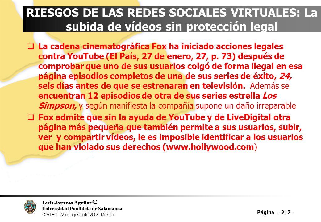 Luis Joyanes Aguilar © Universidad Pontificia de Salamanca CIATEQ, 22 de agosto de 2008, México Página –212– RIESGOS DE LAS REDES SOCIALES VIRTUALES: