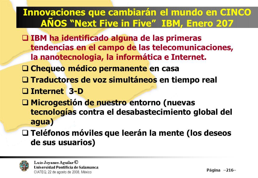 Luis Joyanes Aguilar © Universidad Pontificia de Salamanca CIATEQ, 22 de agosto de 2008, México Página –216– Innovaciones que cambiarán el mundo en CI