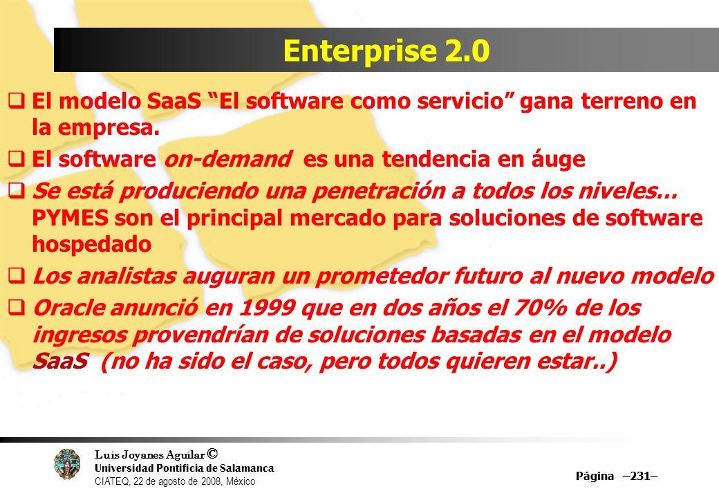Luis Joyanes Aguilar © Universidad Pontificia de Salamanca CIATEQ, 22 de agosto de 2008, México Página –231– Enterprise 2.0 El modelo SaaS El software