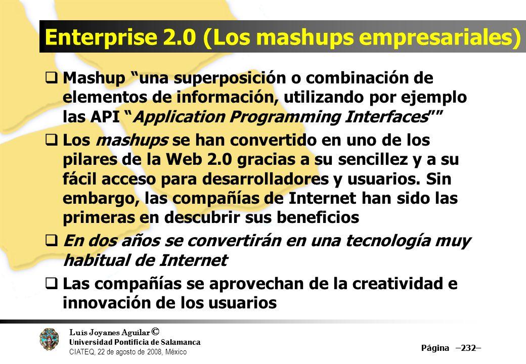 Luis Joyanes Aguilar © Universidad Pontificia de Salamanca CIATEQ, 22 de agosto de 2008, México Página –232– Enterprise 2.0 (Los mashups empresariales