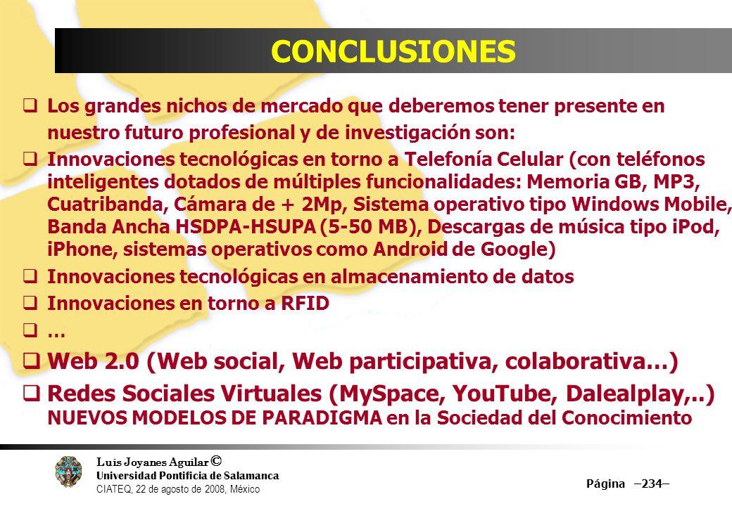 Luis Joyanes Aguilar © Universidad Pontificia de Salamanca CIATEQ, 22 de agosto de 2008, México Página –234– CONCLUSIONES Los grandes nichos de mercad
