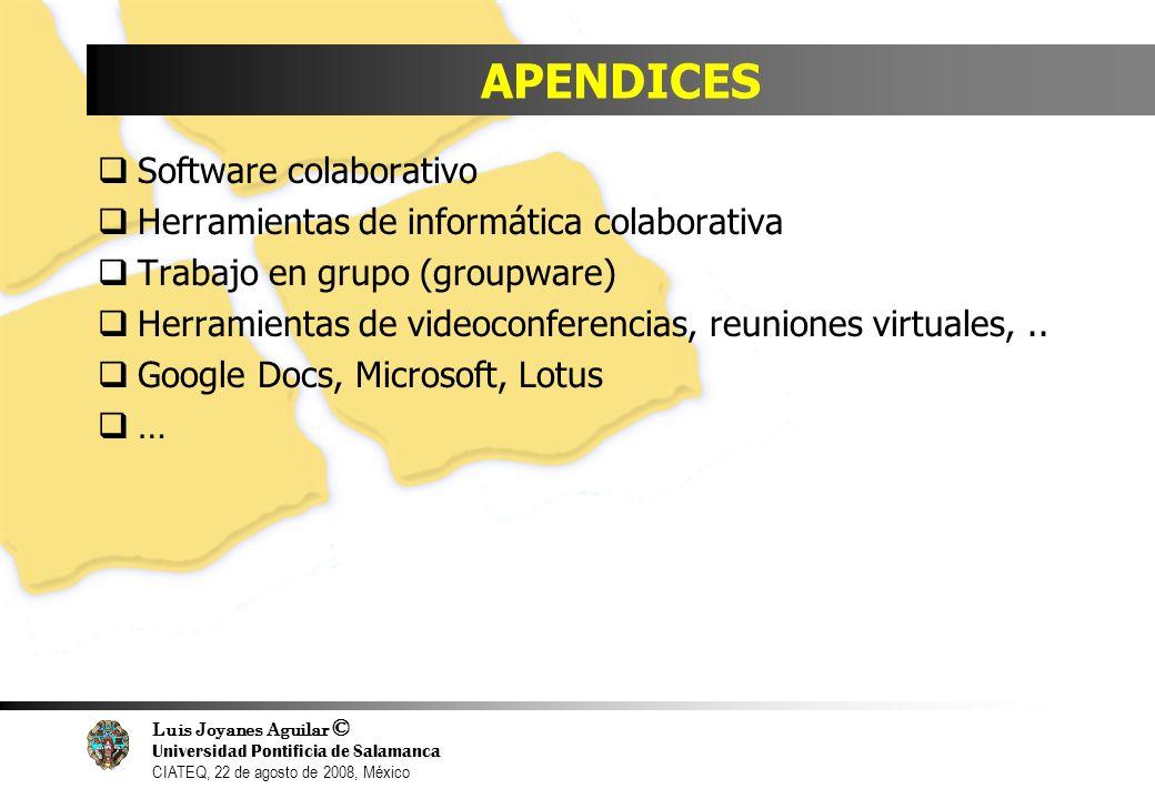 Luis Joyanes Aguilar © Universidad Pontificia de Salamanca CIATEQ, 22 de agosto de 2008, México APENDICES Software colaborativo Herramientas de inform
