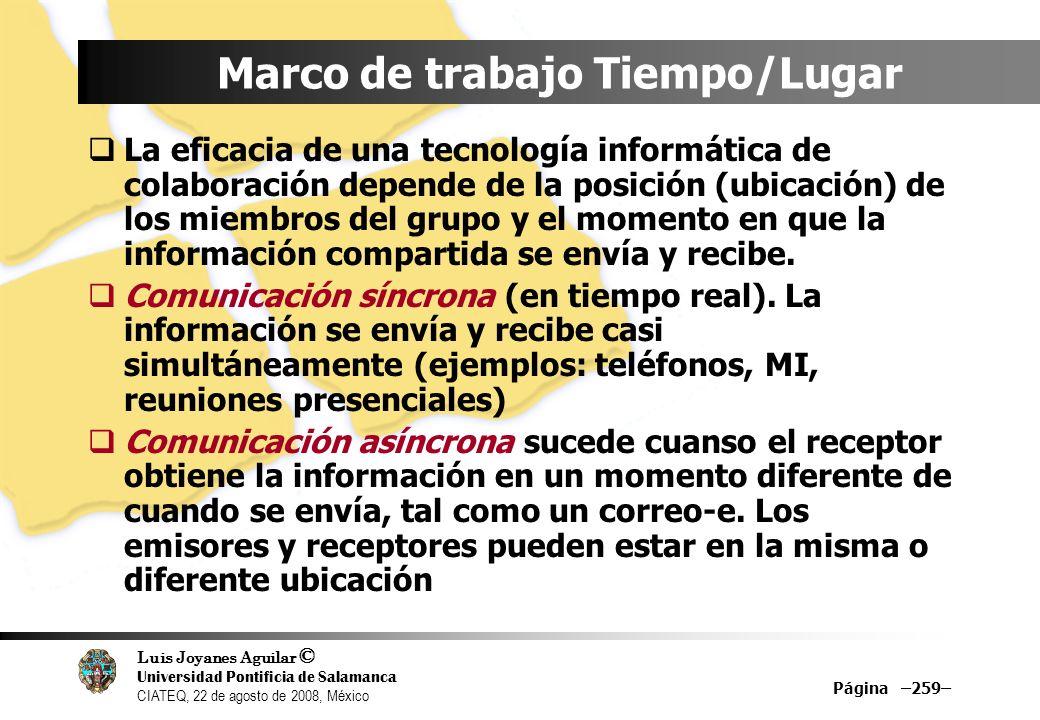 Luis Joyanes Aguilar © Universidad Pontificia de Salamanca CIATEQ, 22 de agosto de 2008, México Marco de trabajo Tiempo/Lugar La eficacia de una tecno
