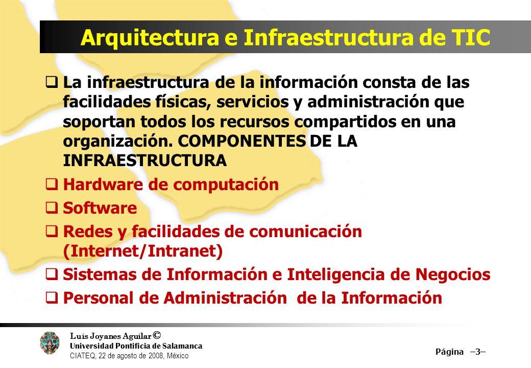 Luis Joyanes Aguilar © Universidad Pontificia de Salamanca CIATEQ, 22 de agosto de 2008, México Arquitectura e Infraestructura de TIC La infraestructu