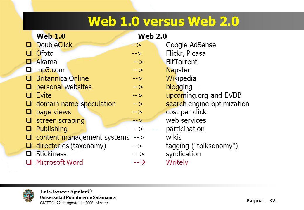 Luis Joyanes Aguilar © Universidad Pontificia de Salamanca CIATEQ, 22 de agosto de 2008, México Página –32– Web 1.0 versus Web 2.0 Web 1.0 Web 2.0 Dou