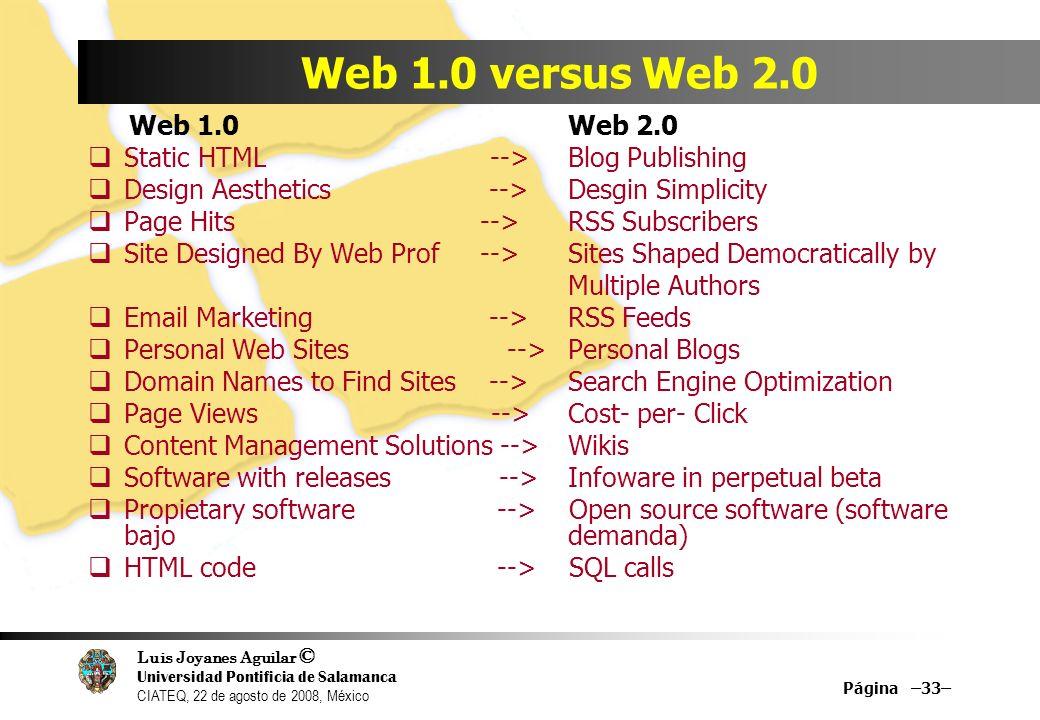 Luis Joyanes Aguilar © Universidad Pontificia de Salamanca CIATEQ, 22 de agosto de 2008, México Página –33– Web 1.0 versus Web 2.0 Web 1.0 Web 2.0 Sta
