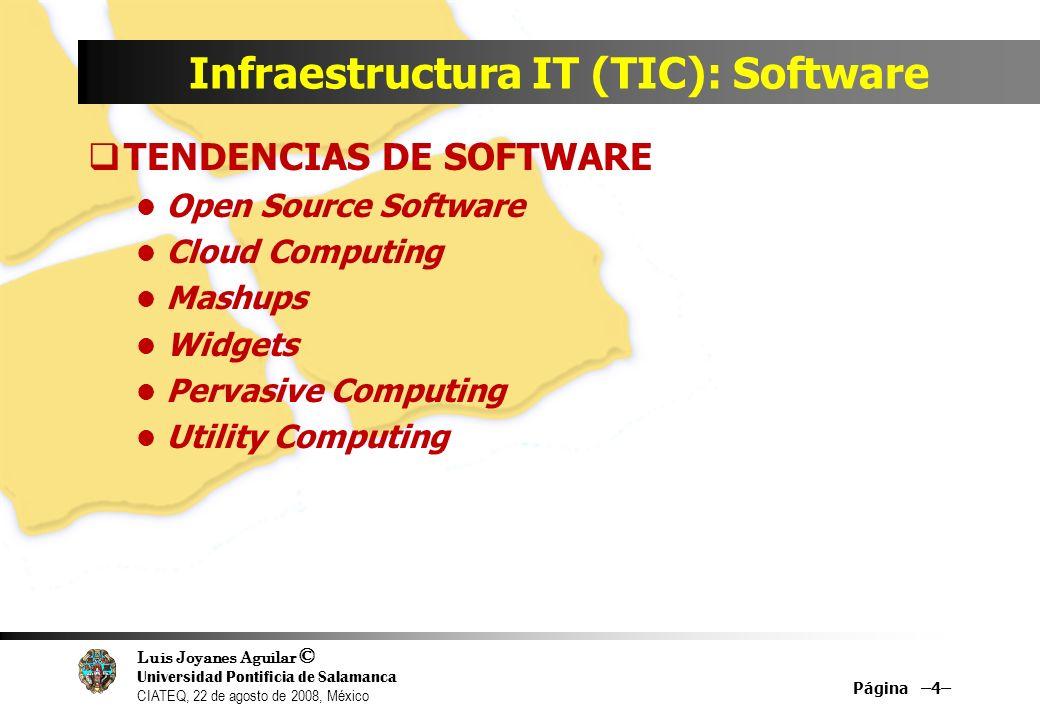 Luis Joyanes Aguilar © Universidad Pontificia de Salamanca CIATEQ, 22 de agosto de 2008, México Infraestructura IT (TIC): Software TENDENCIAS DE SOFTW