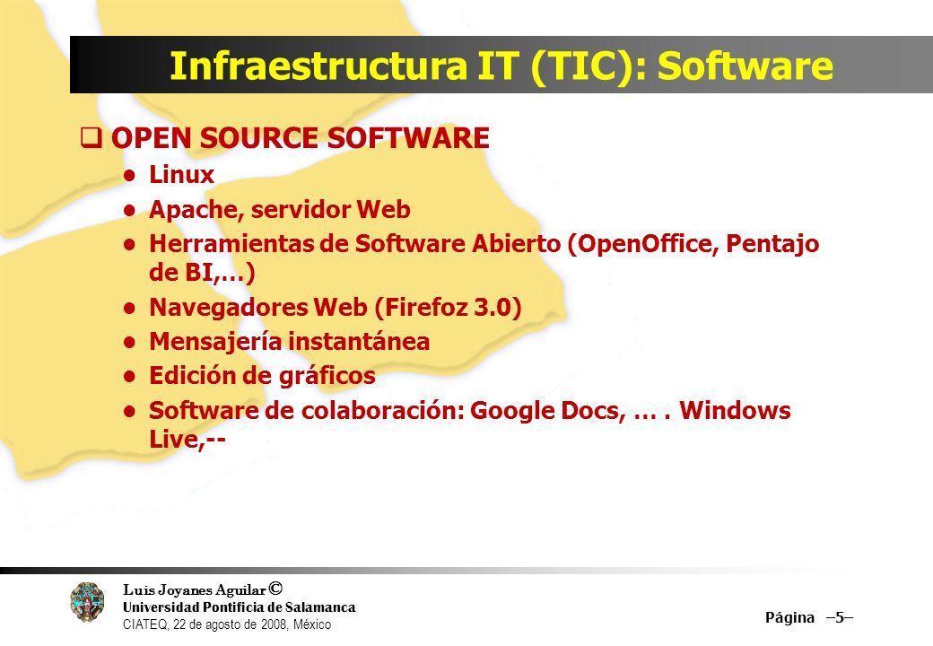Luis Joyanes Aguilar © Universidad Pontificia de Salamanca CIATEQ, 22 de agosto de 2008, México Infraestructura IT (TIC): Software OPEN SOURCE SOFTWAR