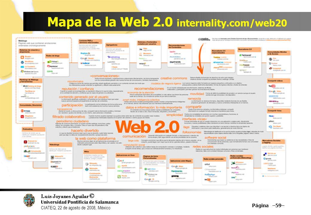 Luis Joyanes Aguilar © Universidad Pontificia de Salamanca CIATEQ, 22 de agosto de 2008, México Mapa de la Web 2.0 internality.com/web20 Página –59–