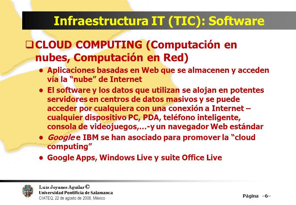 Luis Joyanes Aguilar © Universidad Pontificia de Salamanca CIATEQ, 22 de agosto de 2008, México Infraestructura IT (TIC): Software CLOUD COMPUTING (Co