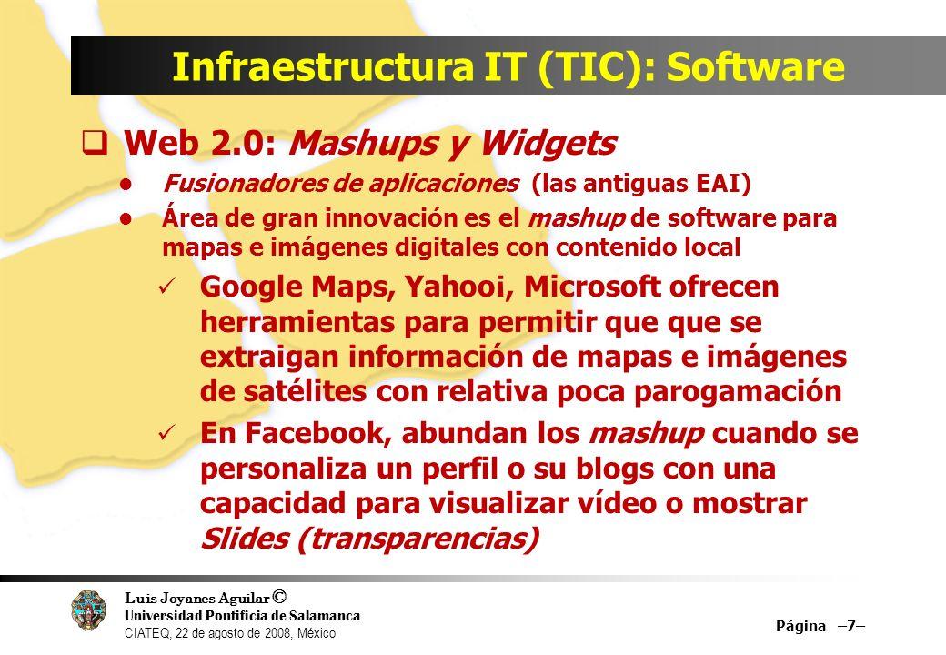 Luis Joyanes Aguilar © Universidad Pontificia de Salamanca CIATEQ, 22 de agosto de 2008, México Infraestructura IT (TIC): Software Web 2.0: Mashups y