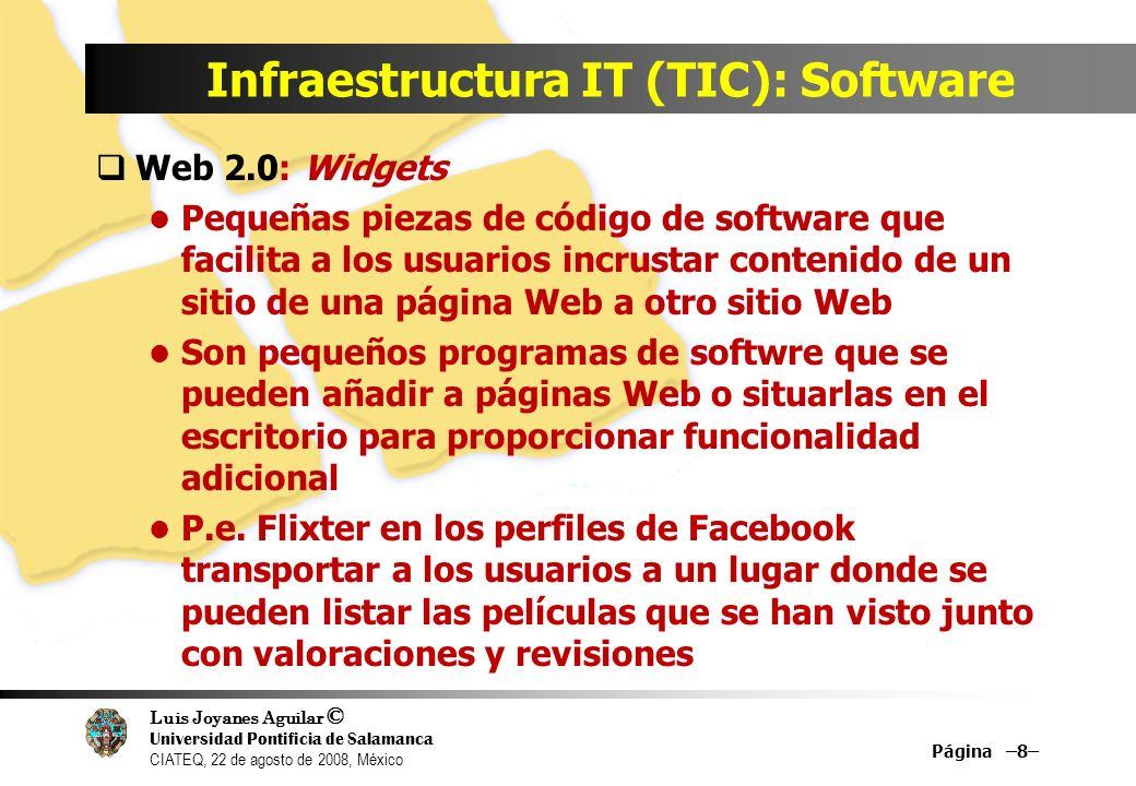 Luis Joyanes Aguilar © Universidad Pontificia de Salamanca CIATEQ, 22 de agosto de 2008, México Infraestructura IT (TIC): Software Web 2.0: Widgets Pe