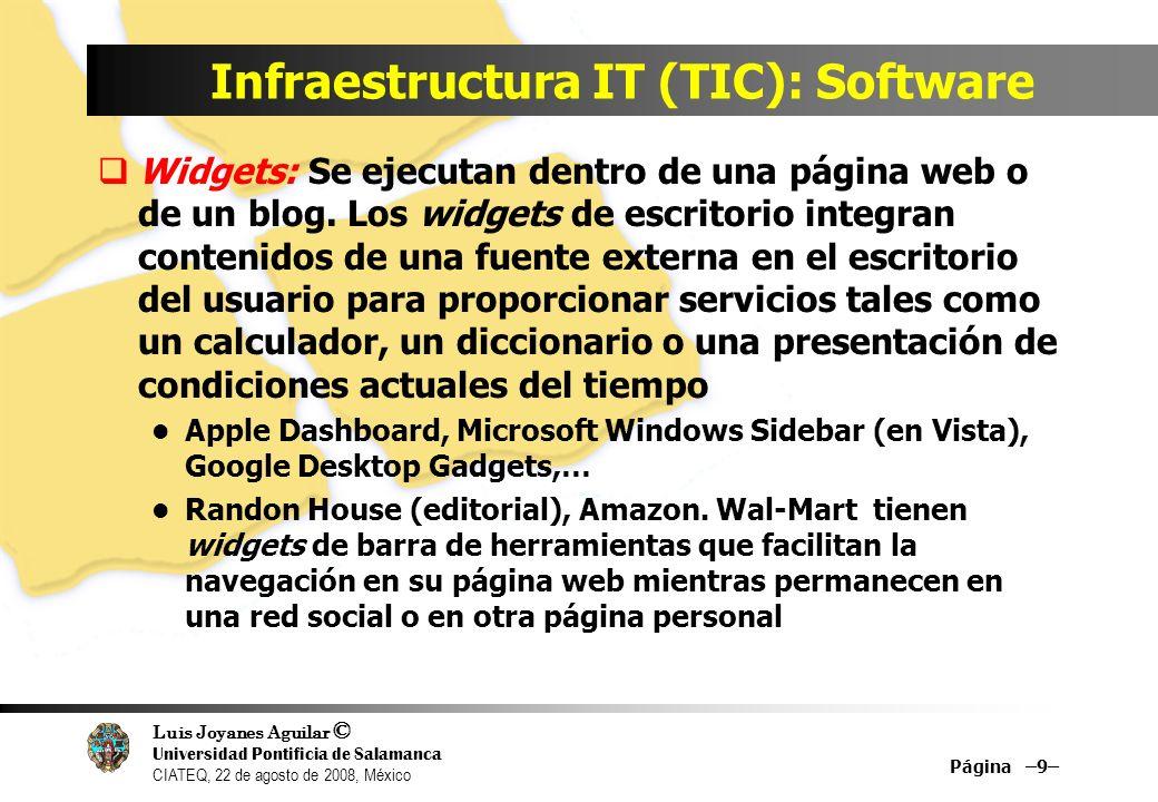 Luis Joyanes Aguilar © Universidad Pontificia de Salamanca CIATEQ, 22 de agosto de 2008, México Infraestructura IT (TIC): Software Página –9– Widgets:
