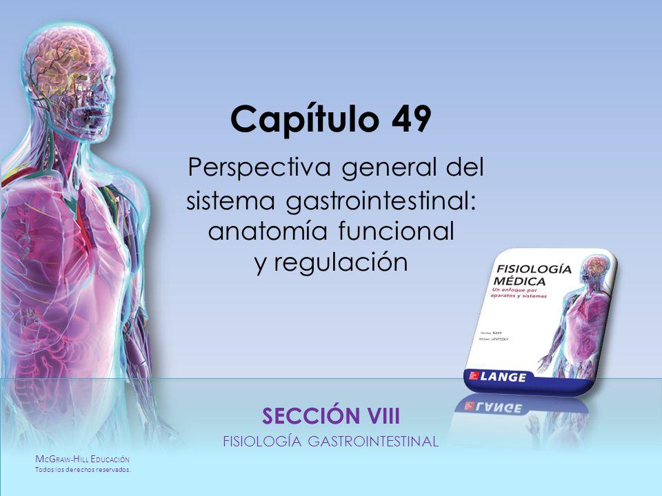 M C G RAW- H ILL E DUCACIÓN Todos los derechos reservados. Capítulo 49. Regulación Perspectiva general del sistema gastrointestinal: anatomía funciona
