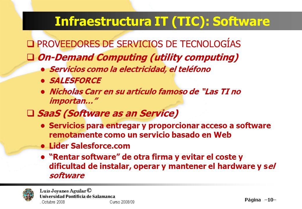Luis Joyanes Aguilar © Universidad Pontificia de Salamanca. Octubre 2008 Curso 2008/09 Infraestructura IT (TIC): Software PROVEEDORES DE SERVICIOS DE