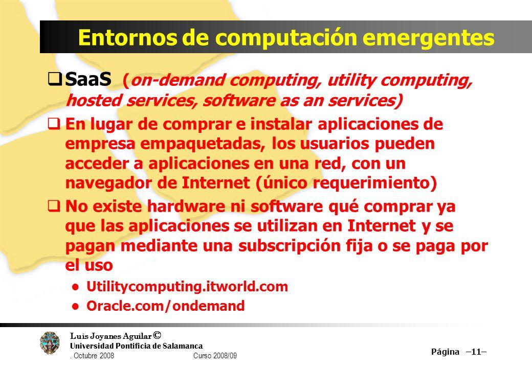 Luis Joyanes Aguilar © Universidad Pontificia de Salamanca. Octubre 2008 Curso 2008/09 Entornos de computación emergentes SaaS (on-demand computing, u