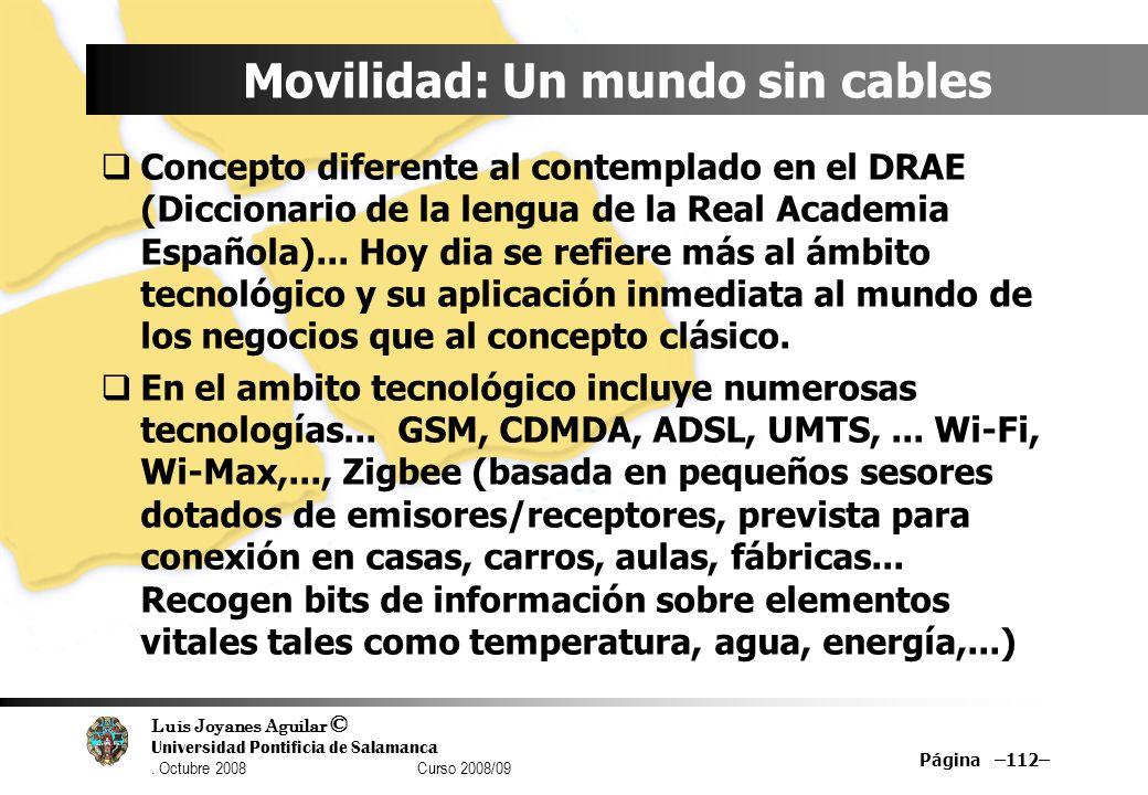 Luis Joyanes Aguilar © Universidad Pontificia de Salamanca. Octubre 2008 Curso 2008/09 Página –112– Movilidad: Un mundo sin cables Concepto diferente