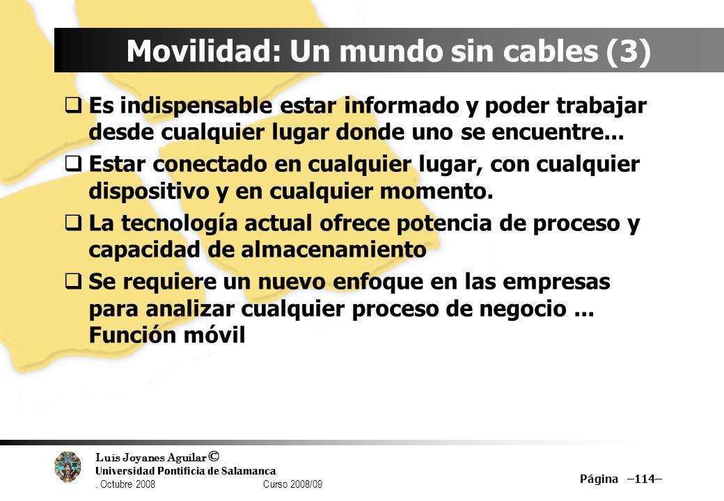 Luis Joyanes Aguilar © Universidad Pontificia de Salamanca. Octubre 2008 Curso 2008/09 Página –114– Movilidad: Un mundo sin cables (3) Es indispensabl