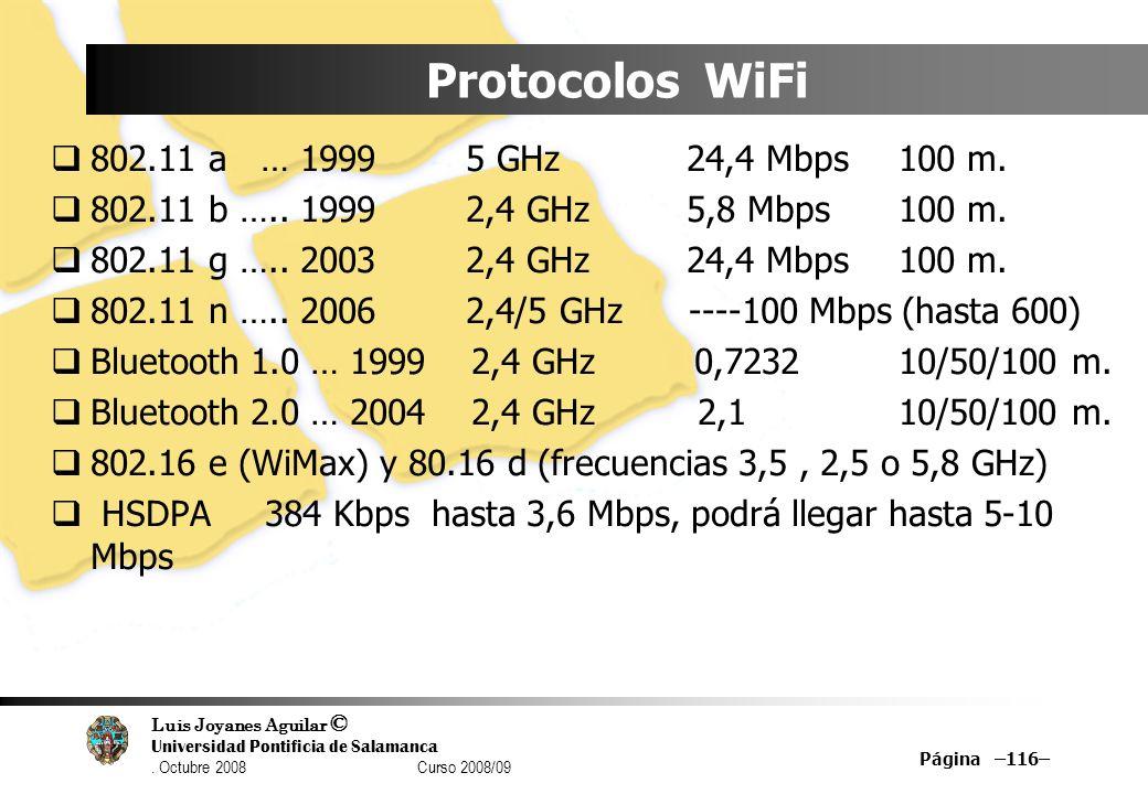 Luis Joyanes Aguilar © Universidad Pontificia de Salamanca. Octubre 2008 Curso 2008/09 Página –116– Protocolos WiFi 802.11 a … 1999 5 GHz24,4 Mbps100