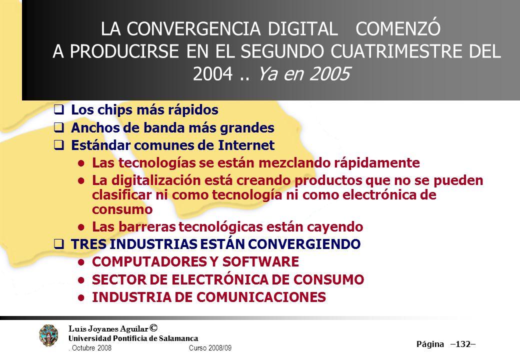 Luis Joyanes Aguilar © Universidad Pontificia de Salamanca. Octubre 2008 Curso 2008/09 Página –132– LA CONVERGENCIA DIGITAL COMENZÓ A PRODUCIRSE EN EL