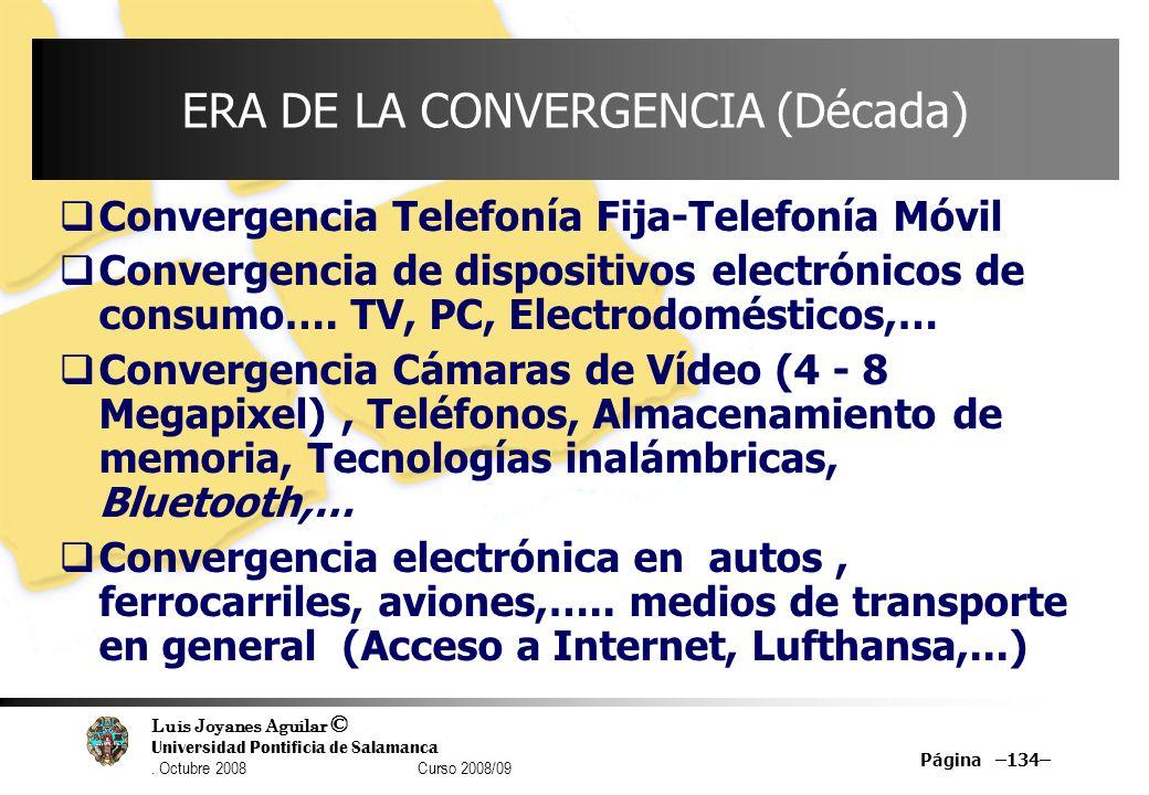 Luis Joyanes Aguilar © Universidad Pontificia de Salamanca. Octubre 2008 Curso 2008/09 Página –134– ERA DE LA CONVERGENCIA (Década) Convergencia Telef