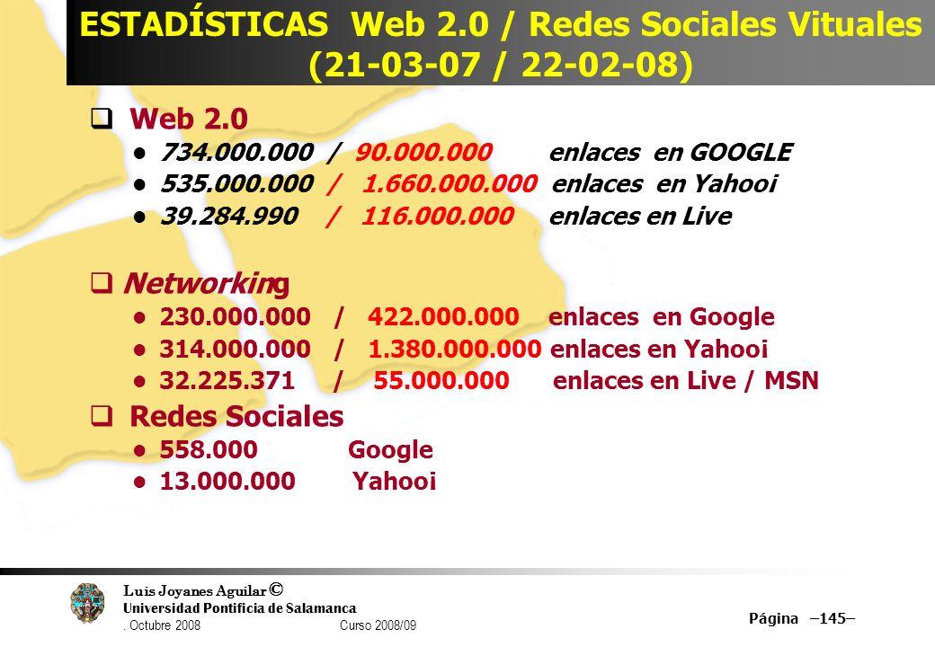 Luis Joyanes Aguilar © Universidad Pontificia de Salamanca. Octubre 2008 Curso 2008/09 Página –145– ESTADÍSTICAS Web 2.0 / Redes Sociales Vituales (21