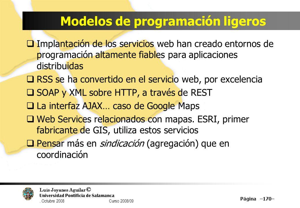 Luis Joyanes Aguilar © Universidad Pontificia de Salamanca. Octubre 2008 Curso 2008/09 Modelos de programación ligeros Implantación de los servicios w