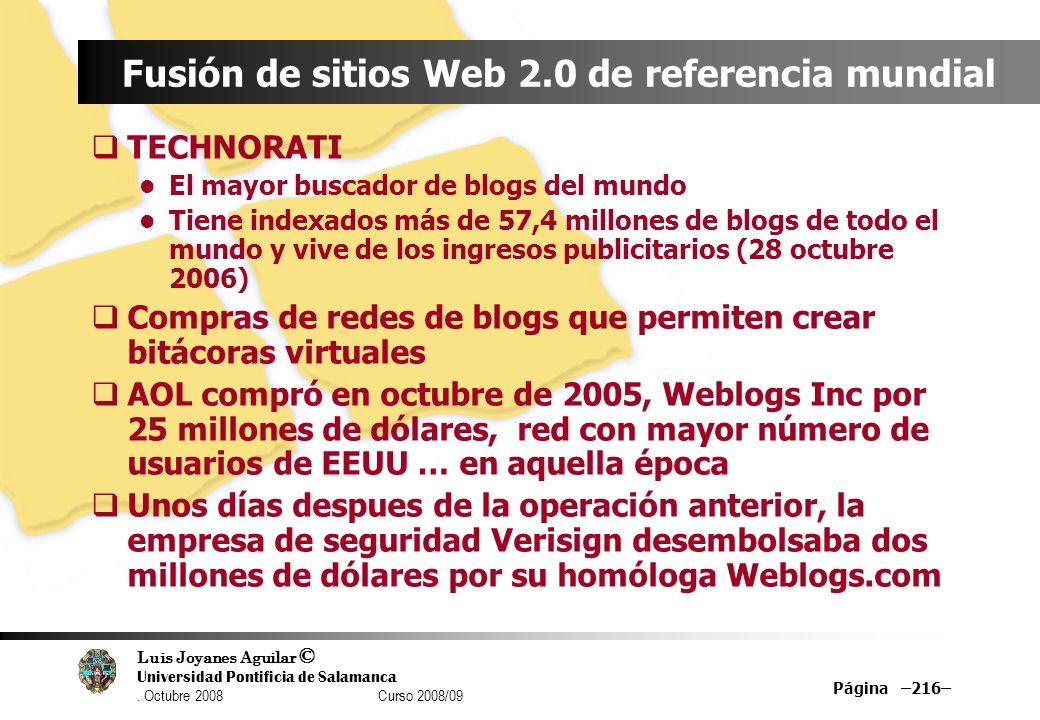 Luis Joyanes Aguilar © Universidad Pontificia de Salamanca. Octubre 2008 Curso 2008/09 Página –216– Fusión de sitios Web 2.0 de referencia mundial TEC