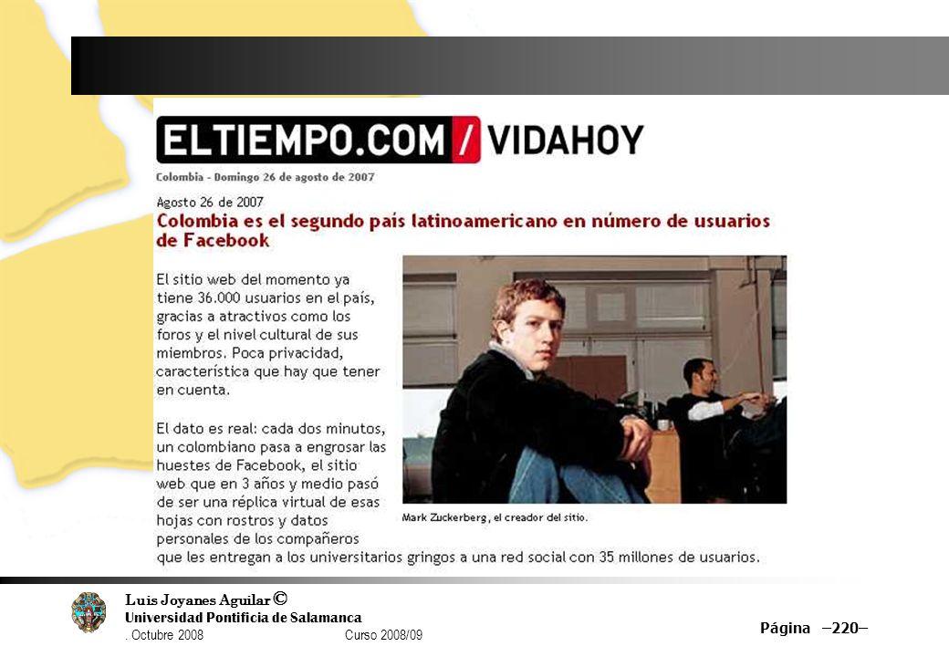 Luis Joyanes Aguilar © Universidad Pontificia de Salamanca. Octubre 2008 Curso 2008/09 Página –220–