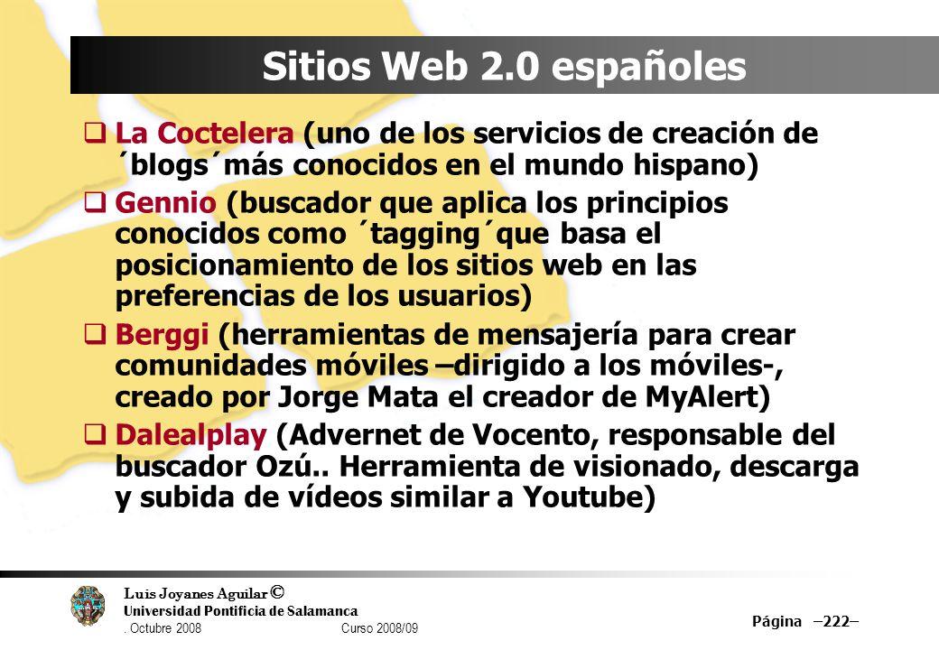 Luis Joyanes Aguilar © Universidad Pontificia de Salamanca. Octubre 2008 Curso 2008/09 Página –222– Sitios Web 2.0 españoles La Coctelera (uno de los