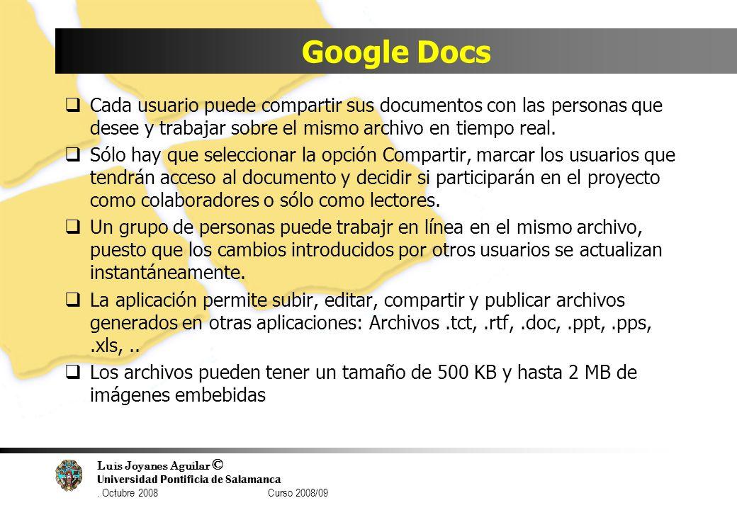 Luis Joyanes Aguilar © Universidad Pontificia de Salamanca. Octubre 2008 Curso 2008/09 Google Docs Cada usuario puede compartir sus documentos con las