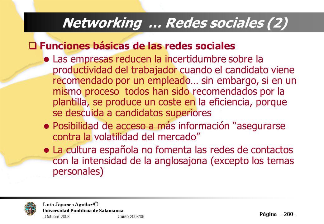 Luis Joyanes Aguilar © Universidad Pontificia de Salamanca. Octubre 2008 Curso 2008/09 Página –280– Networking … Redes sociales (2) Funciones básicas