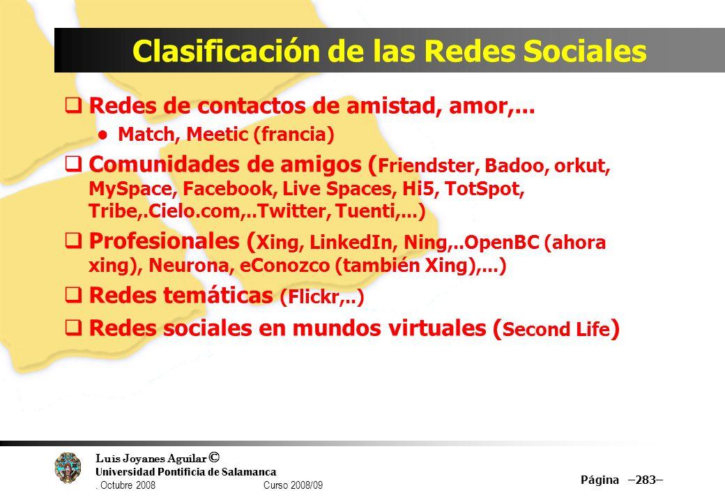 Luis Joyanes Aguilar © Universidad Pontificia de Salamanca. Octubre 2008 Curso 2008/09 Clasificación de las Redes Sociales Redes de contactos de amist