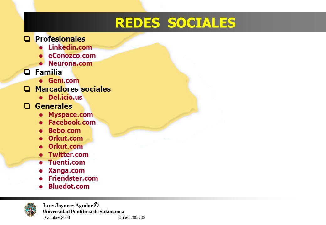 Luis Joyanes Aguilar © Universidad Pontificia de Salamanca. Octubre 2008 Curso 2008/09 REDES SOCIALES Profesionales Linkedin.com eConozco.com Neurona.