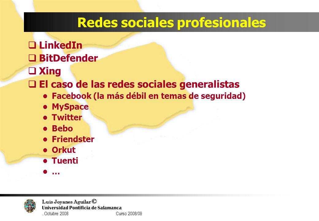 Luis Joyanes Aguilar © Universidad Pontificia de Salamanca. Octubre 2008 Curso 2008/09 Redes sociales profesionales LinkedIn BitDefender Xing El caso