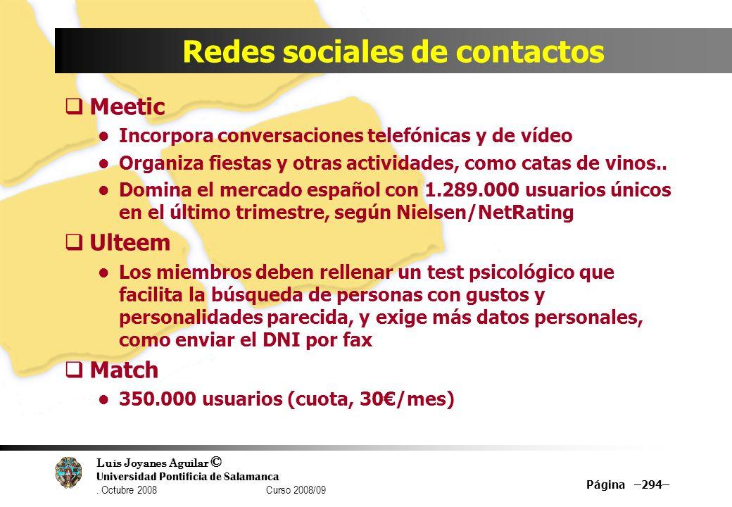 Luis Joyanes Aguilar © Universidad Pontificia de Salamanca. Octubre 2008 Curso 2008/09 Página –294– Redes sociales de contactos Meetic Incorpora conve