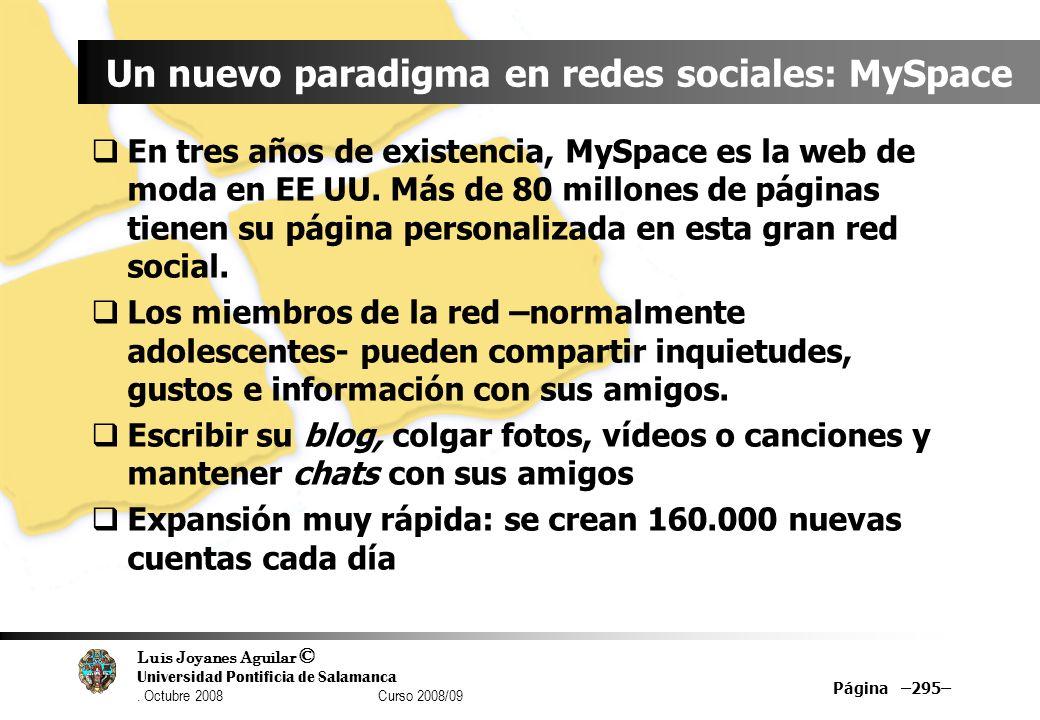 Luis Joyanes Aguilar © Universidad Pontificia de Salamanca. Octubre 2008 Curso 2008/09 Página –295– Un nuevo paradigma en redes sociales: MySpace En t