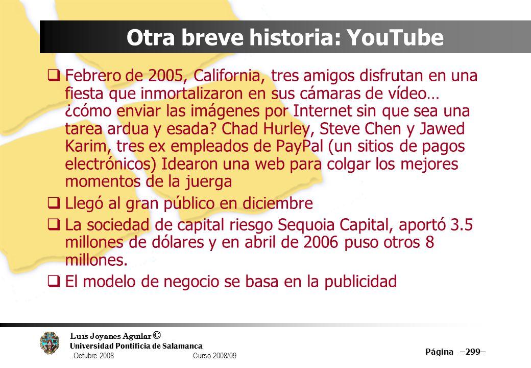 Luis Joyanes Aguilar © Universidad Pontificia de Salamanca. Octubre 2008 Curso 2008/09 Página –299– Otra breve historia: YouTube Febrero de 2005, Cali