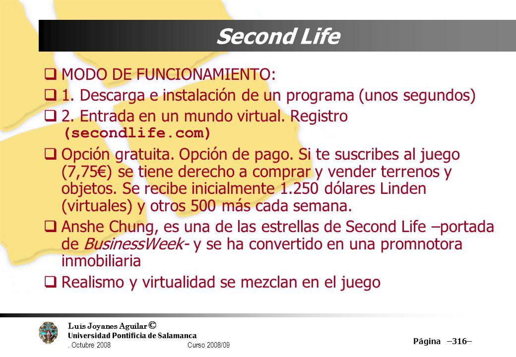 Luis Joyanes Aguilar © Universidad Pontificia de Salamanca. Octubre 2008 Curso 2008/09 Página –316– Second Life MODO DE FUNCIONAMIENTO: 1. Descarga e