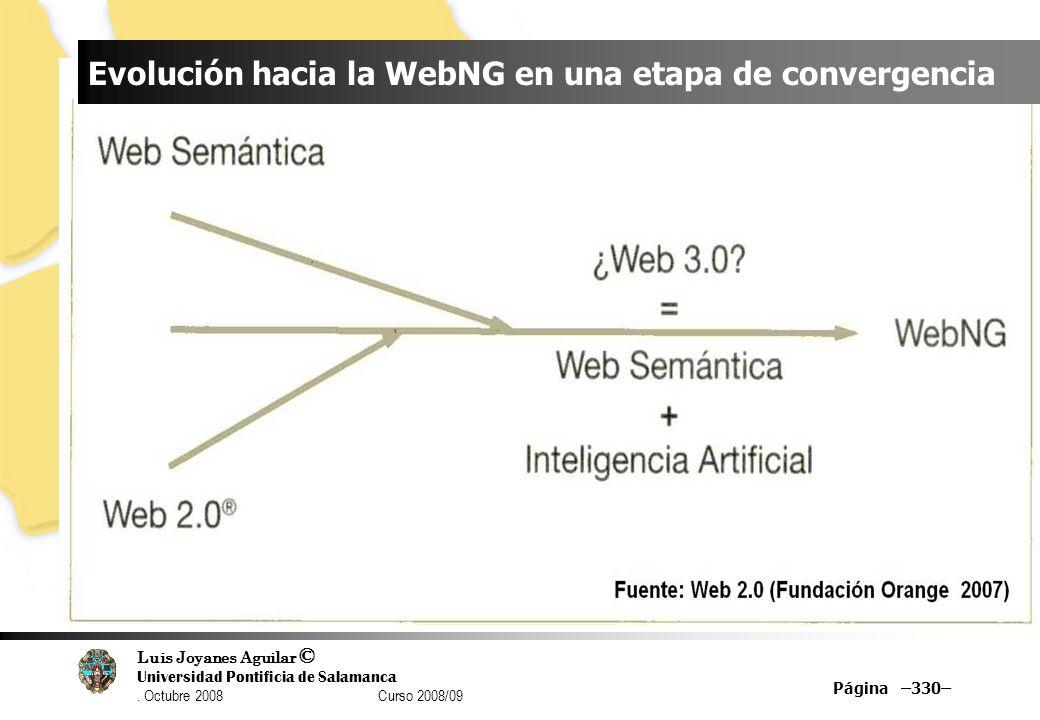 Luis Joyanes Aguilar © Universidad Pontificia de Salamanca. Octubre 2008 Curso 2008/09 Página –330– Evolución hacia la WebNG en una etapa de convergen