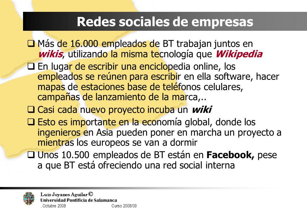 Luis Joyanes Aguilar © Universidad Pontificia de Salamanca. Octubre 2008 Curso 2008/09 Redes sociales de empresas Más de 16.000 empleados de BT trabaj