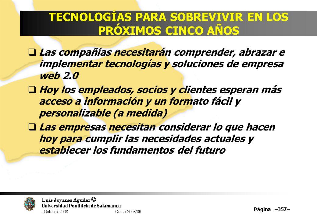 Luis Joyanes Aguilar © Universidad Pontificia de Salamanca. Octubre 2008 Curso 2008/09 Página –357– TECNOLOGÍAS PARA SOBREVIVIR EN LOS PRÓXIMOS CINCO