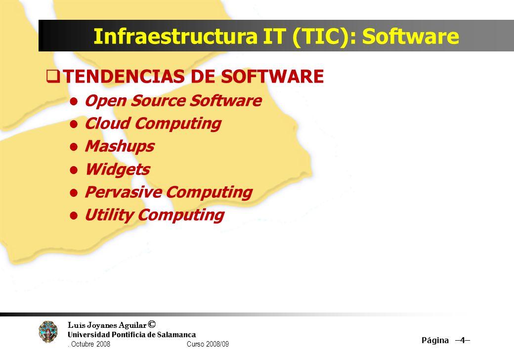 Luis Joyanes Aguilar © Universidad Pontificia de Salamanca. Octubre 2008 Curso 2008/09 Infraestructura IT (TIC): Software TENDENCIAS DE SOFTWARE Open