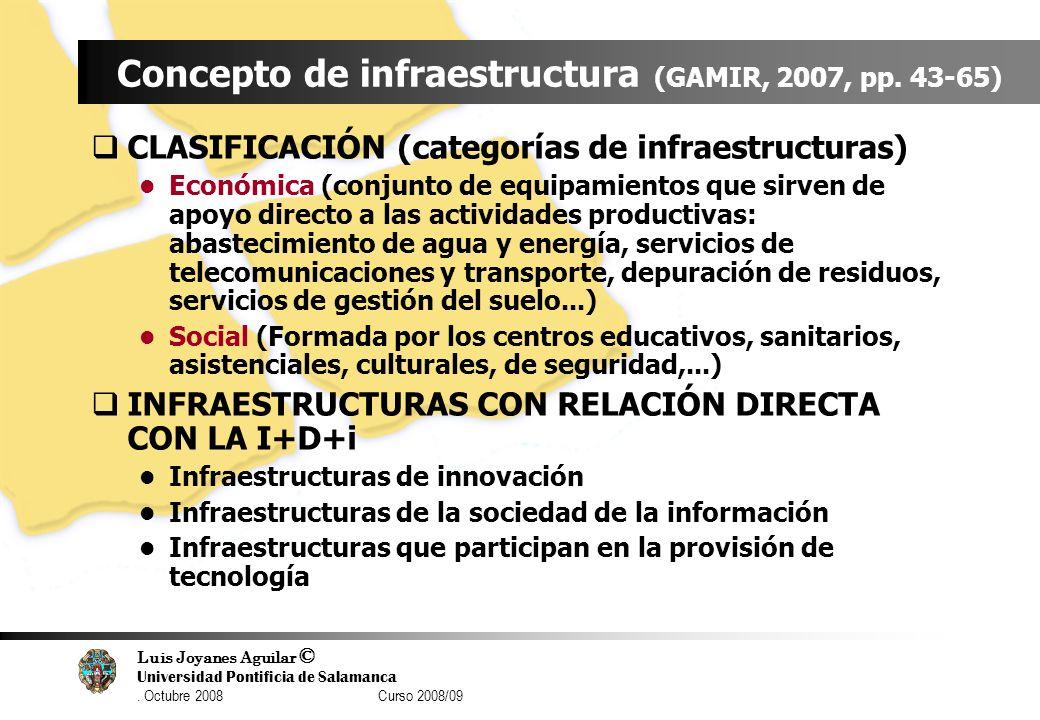 Luis Joyanes Aguilar © Universidad Pontificia de Salamanca. Octubre 2008 Curso 2008/09 Concepto de infraestructura (GAMIR, 2007, pp. 43-65) CLASIFICAC